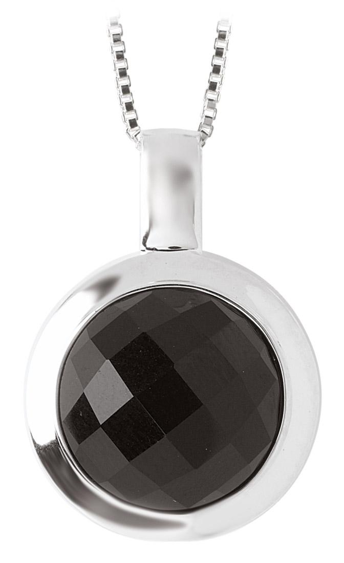 Black Onyx Silver Bezel Pendant