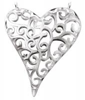 Satin Filigree Openwork Heart Pendant