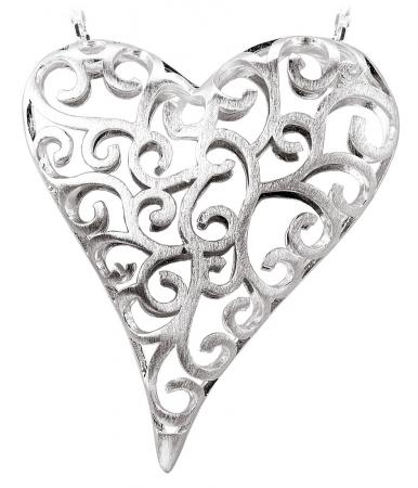 Satin Filigree Openwork Heart Pendant