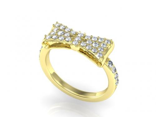 Yellow gold diamond delicate bow ring