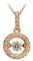 Dancing Diamond Rose Gold Halo Pendant