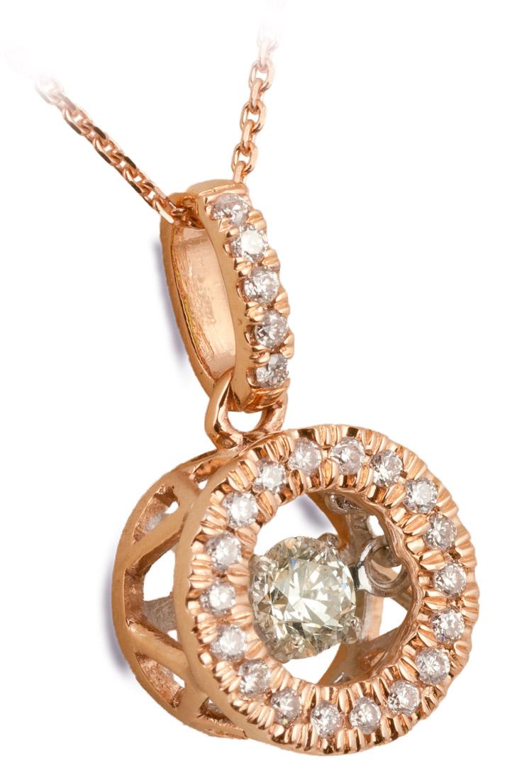 Dancing Diamond Rose Gold Halo Pendant Angle