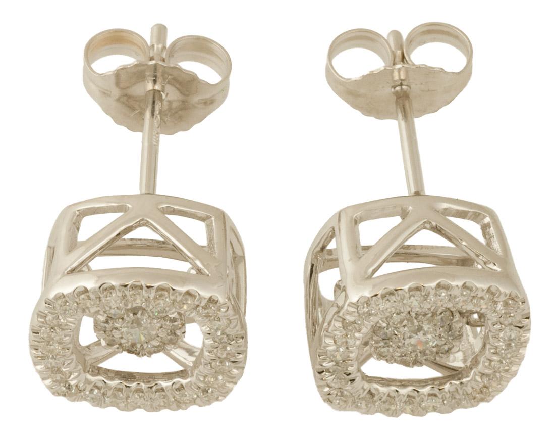 Dancing Diamond Halo Cluster Earrings Top