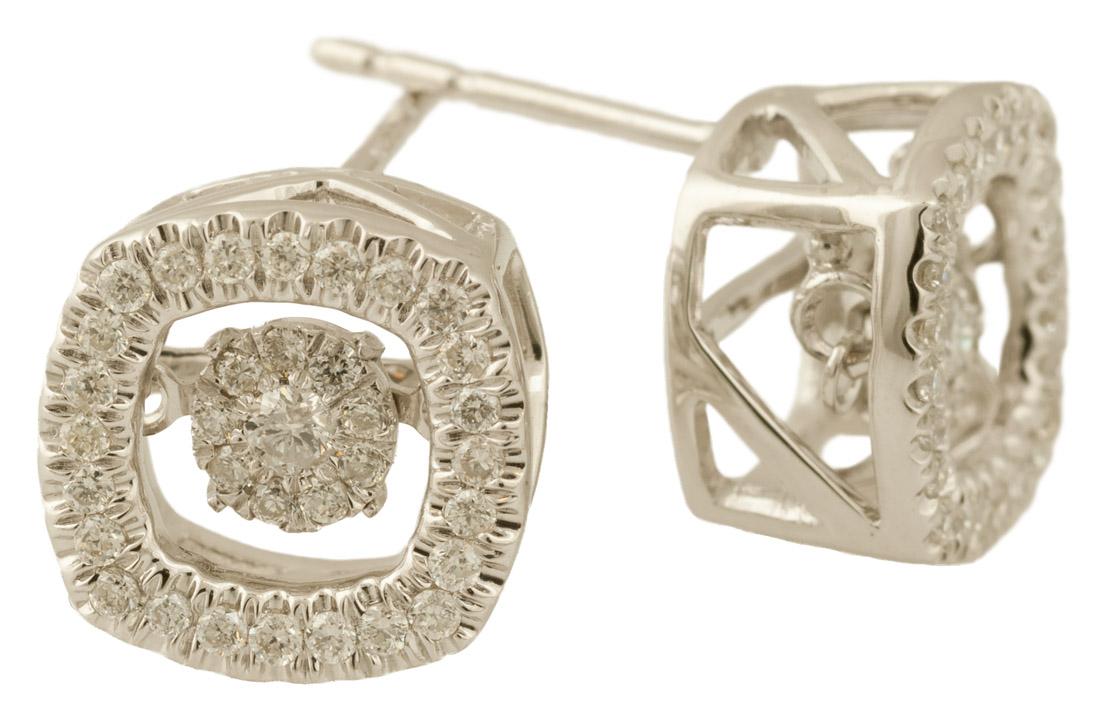 Dancing Diamond Halo Cluster Earrings