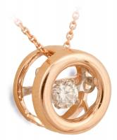 Dancing Diamond Rose Gold Circle Pendant