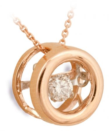 Dancing Diamond Rose Gold Pendant