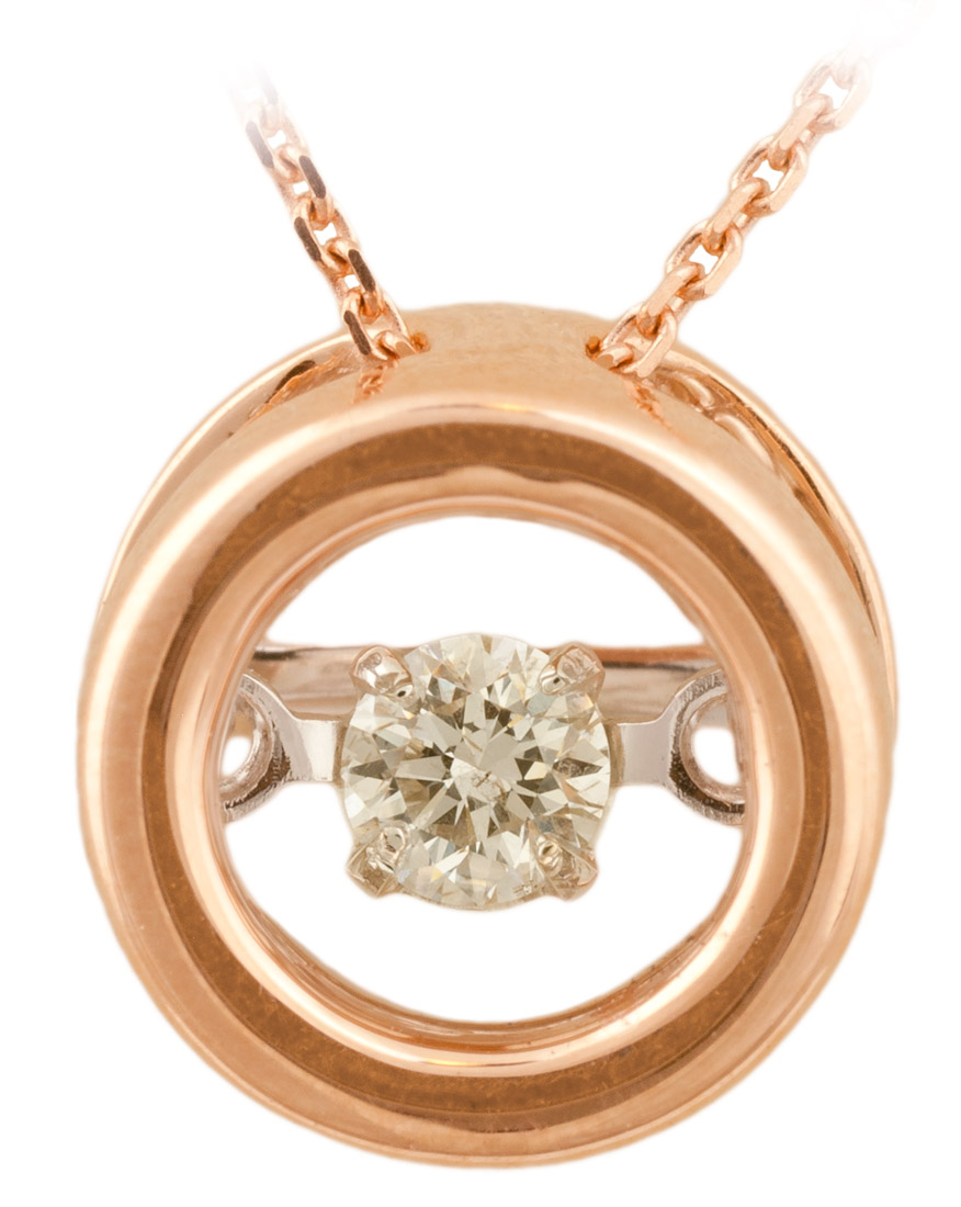 Dancing Diamond Rose Gold Circle Pendant Front