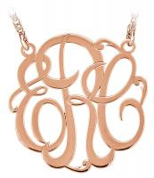 Monogram Script Pendant 14k Rose Gold