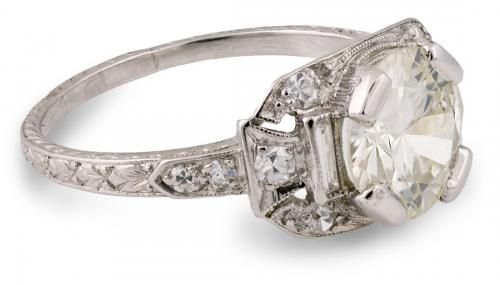 Vintage Platinum Old European Engagement Ring