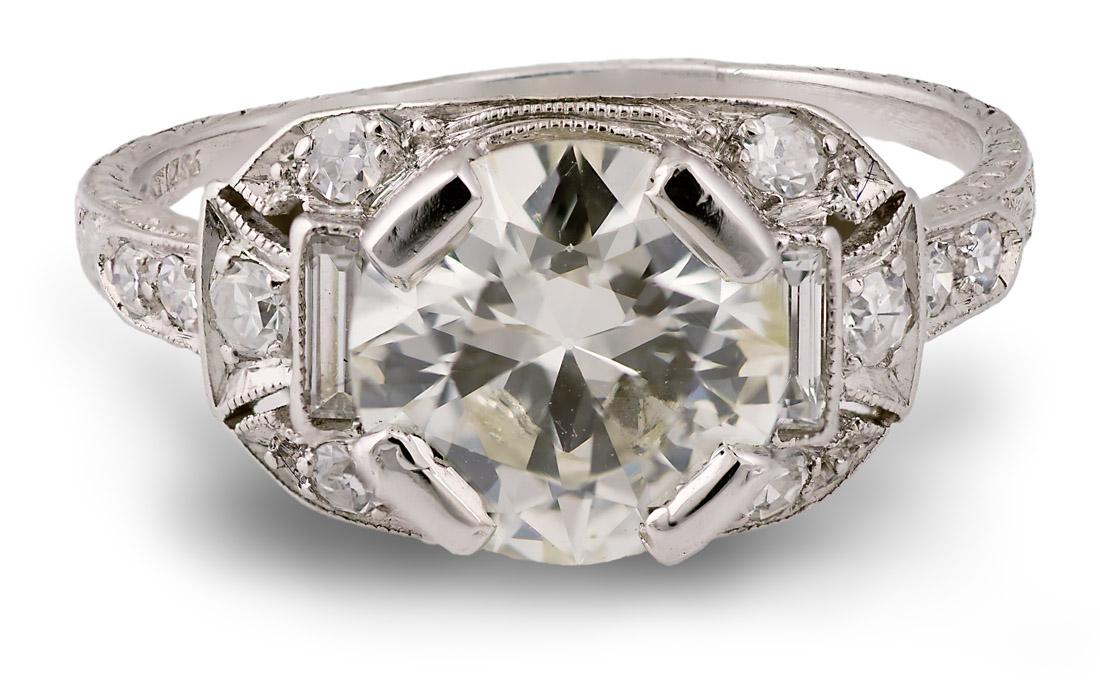 Vintage Platinum hand engraved engagement ring