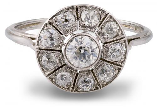 Vintage halo sunburst engagement ring