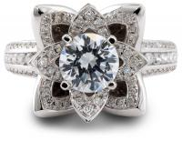 White gold lotus flower engagement ring