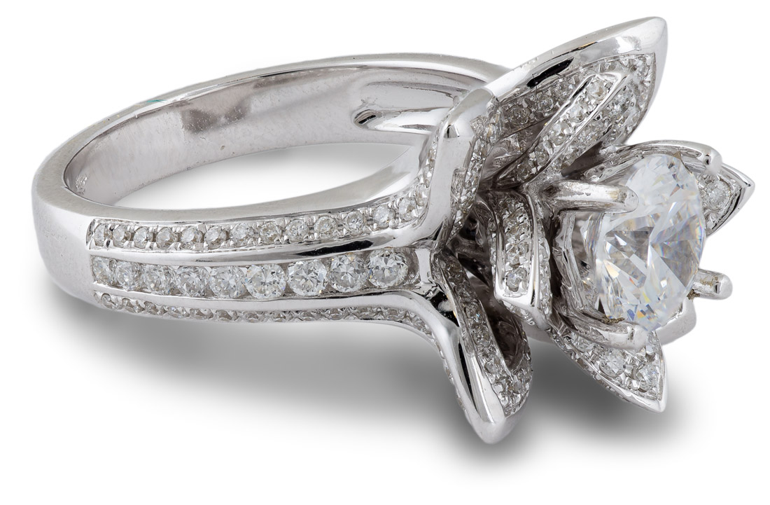 White gold lotus flower engagement ring side view