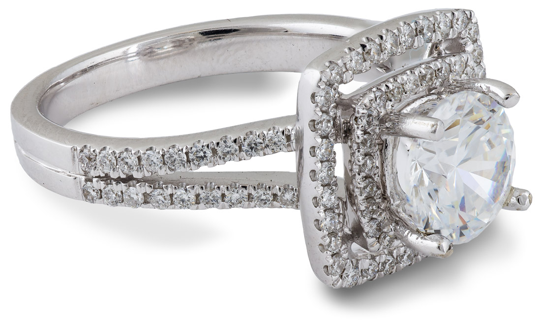 Double Halo Split Shank Engagement Ring side view