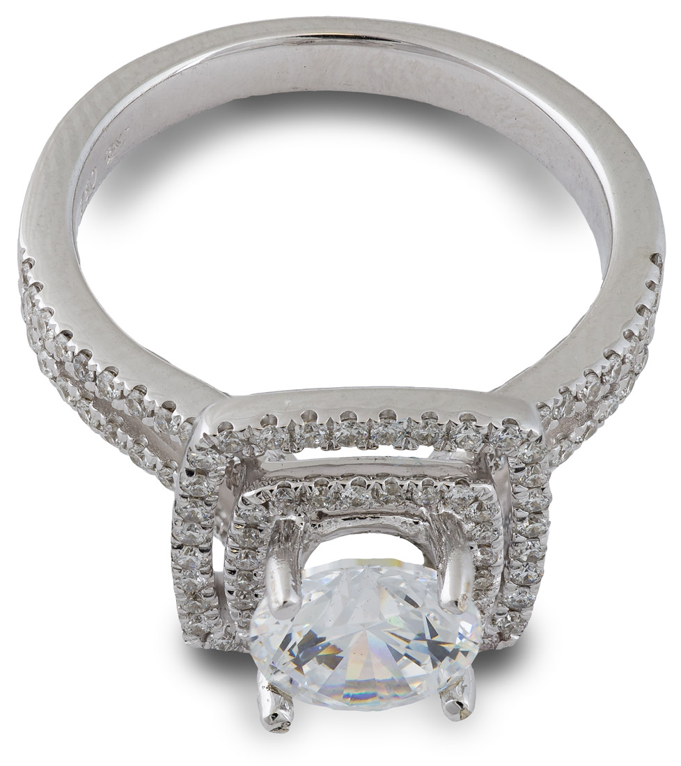 Double Halo Split Shank Engagement Ring top view