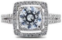 Double halo split shank engagement ring