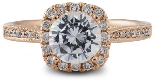 Rose Gold Halo Engagement Ring with Scalloped Gallery