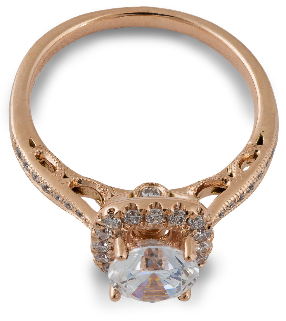 Rose gold halo engagement ring top view