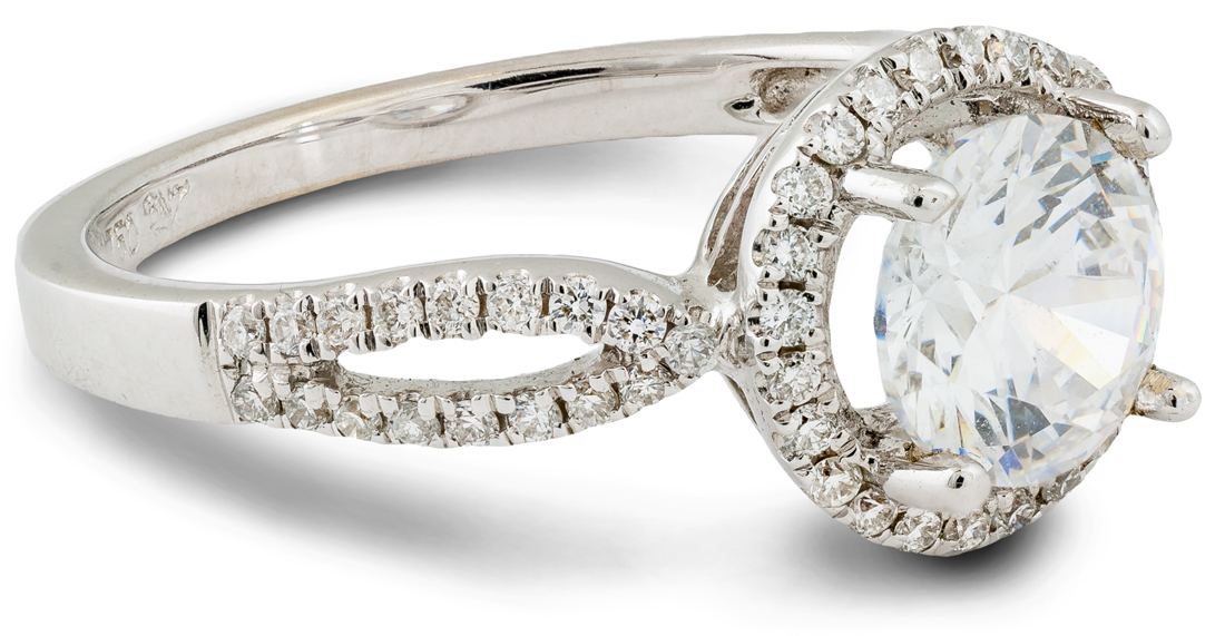 Contemporary halo engagement ring - side