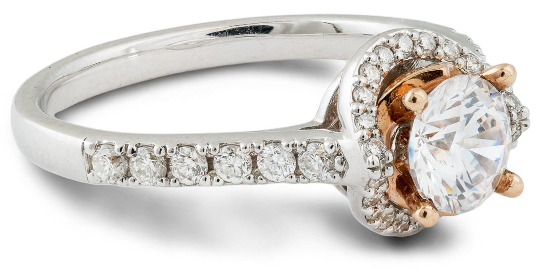 Curved halo cathedral engagement ring with rose gold accents - side