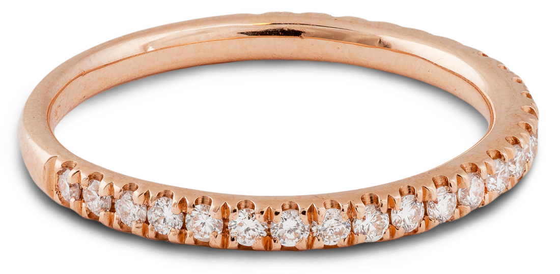 Rose gold diamond thin band - side