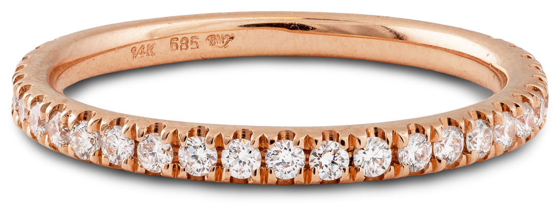 Rose gold diamond thin band