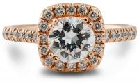 Vintage look cushion halo engagement ring