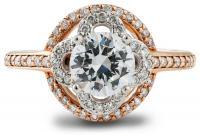Lotus floral design two tone rose gold engagement ring