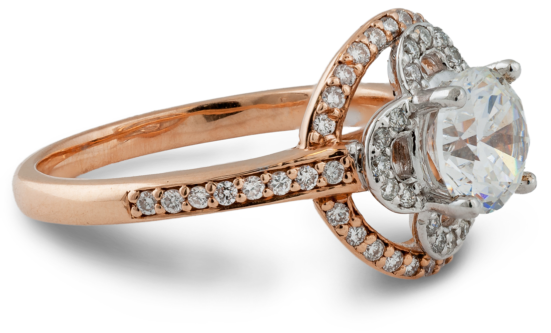 Lotus floral design two tone rose gold engagement ring - side