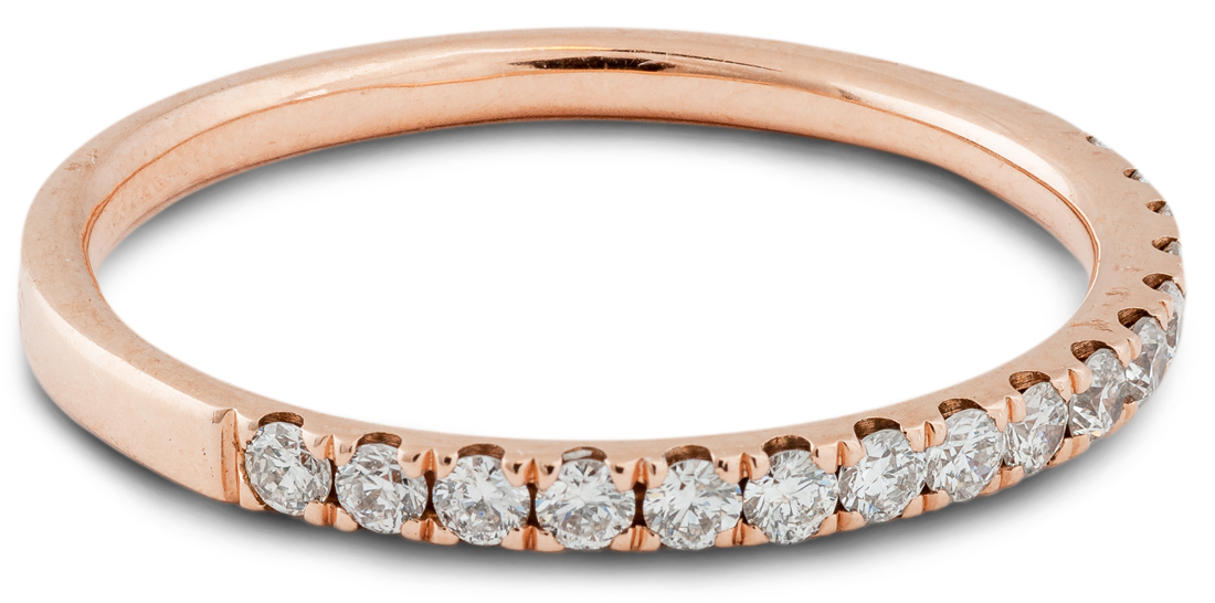 Rose gold thin diamond wedding band - side