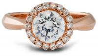 Rose gold round halo engagement ring tapered shank