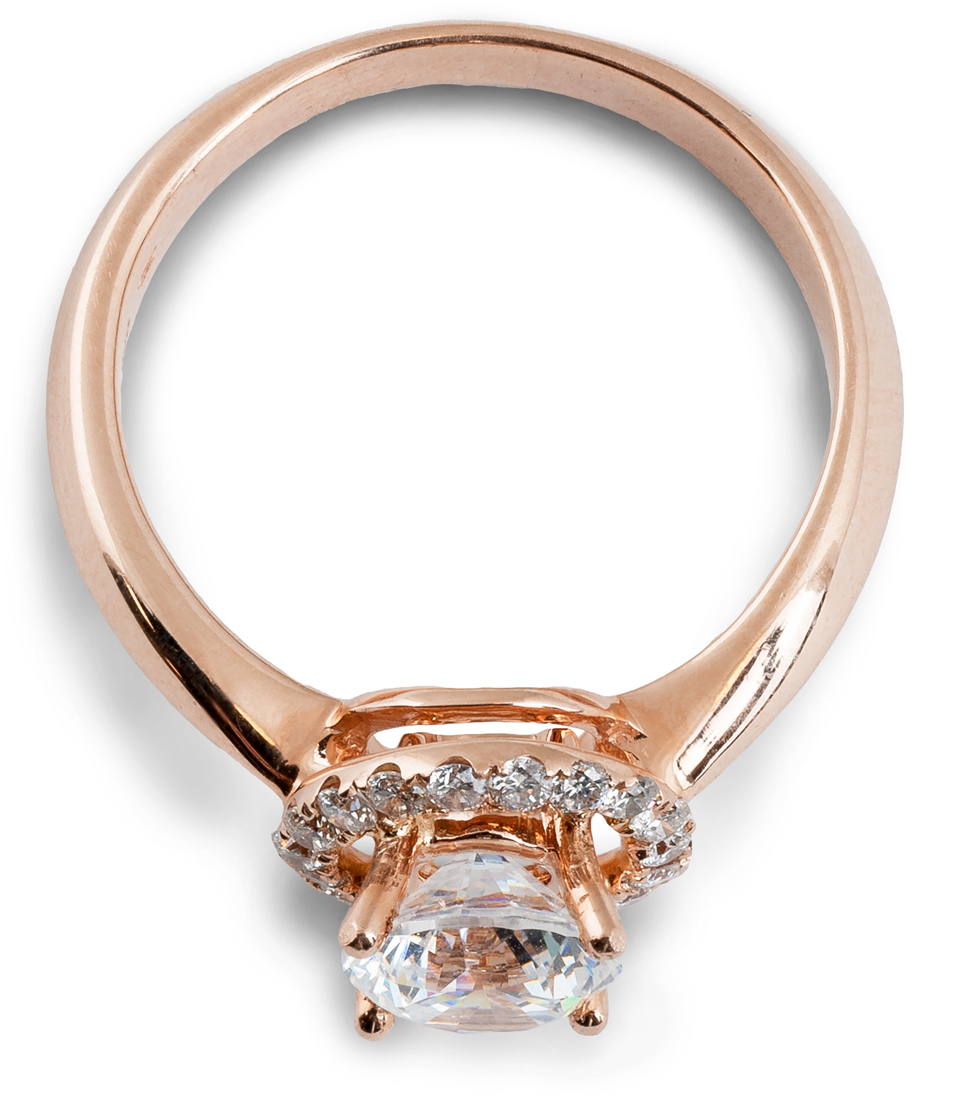 Rose gold round halo engagement ring tapered shank - side