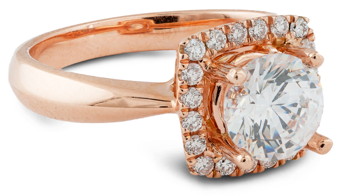 Cushion halo engagement ring with tapered shank - side