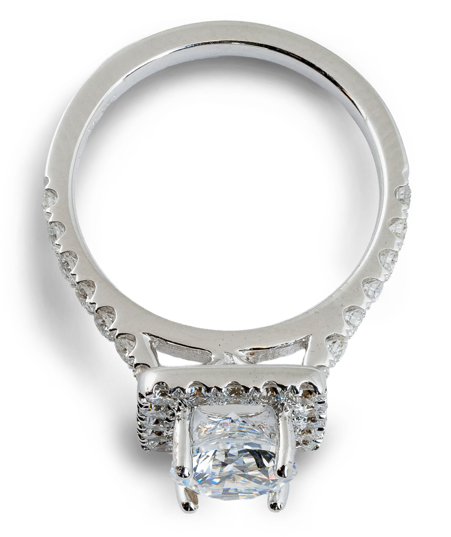 Square halo engagement ring - top