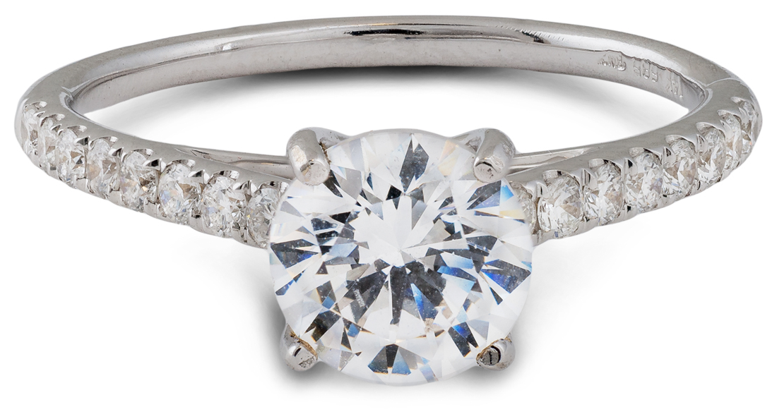 Cathedral egagement ring with accent diamonds