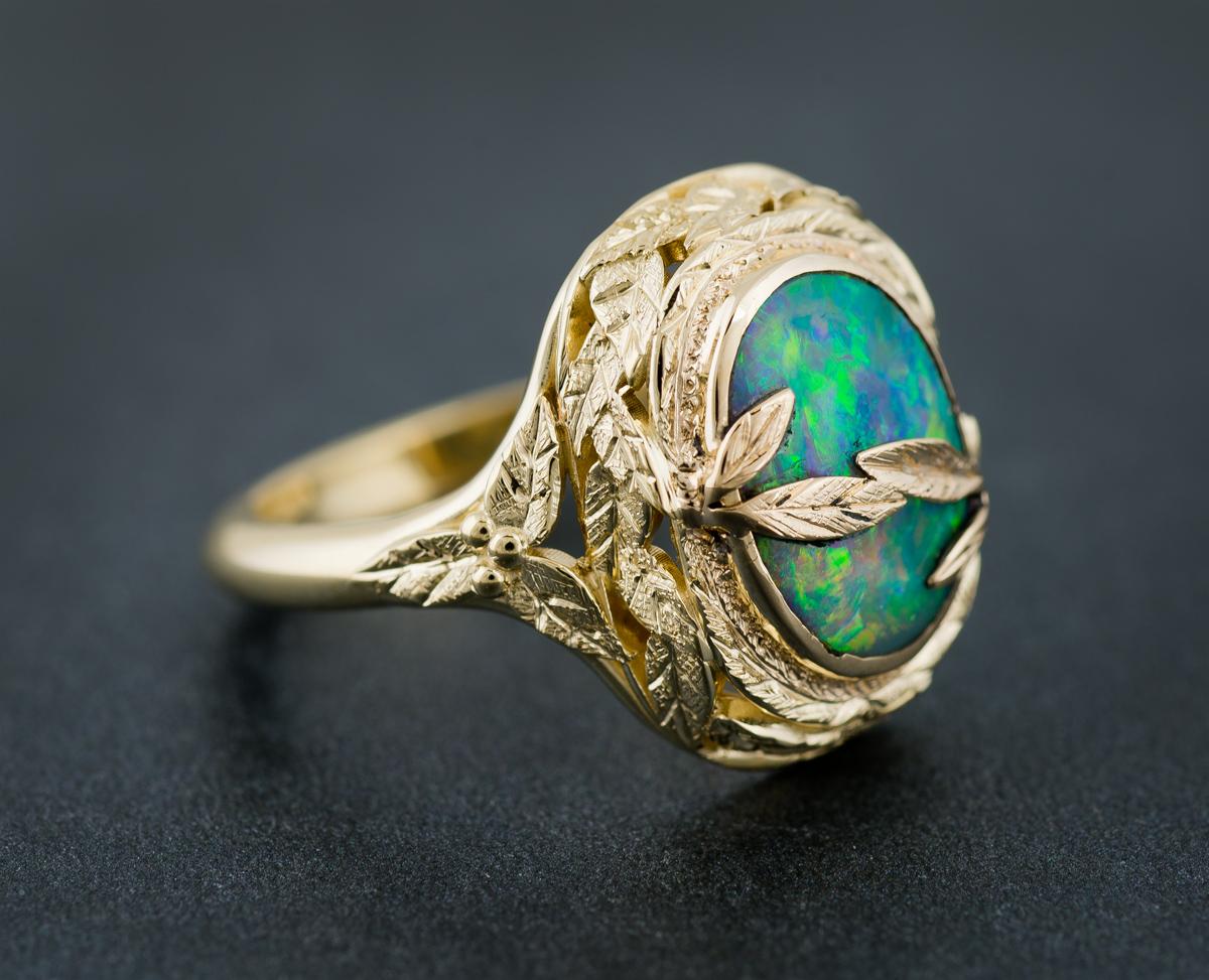 Opal leaf design custom ring - front
