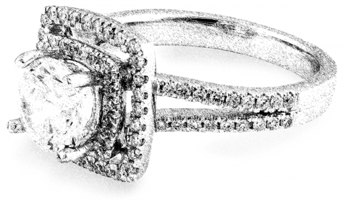 Double halo engagement ring setting from Arden Jewelers