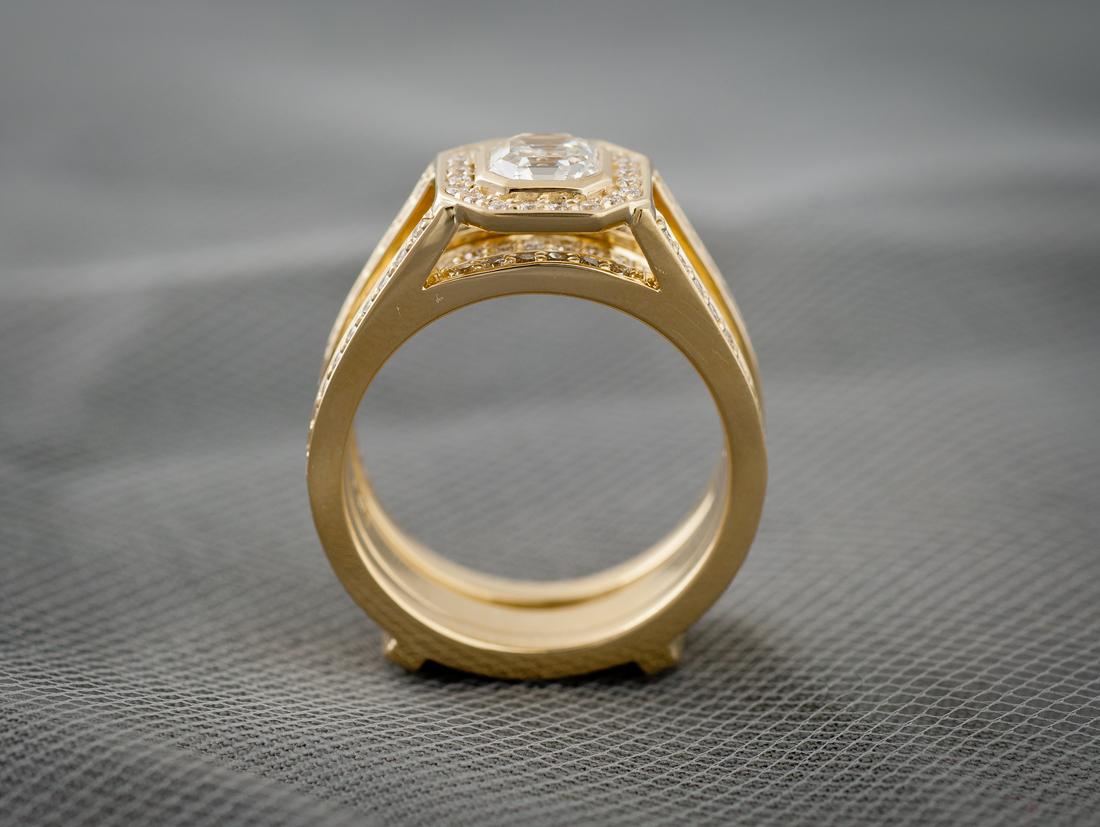 Custom Wedding Set With Bezel Set Asscher Cut Center Diamond Through