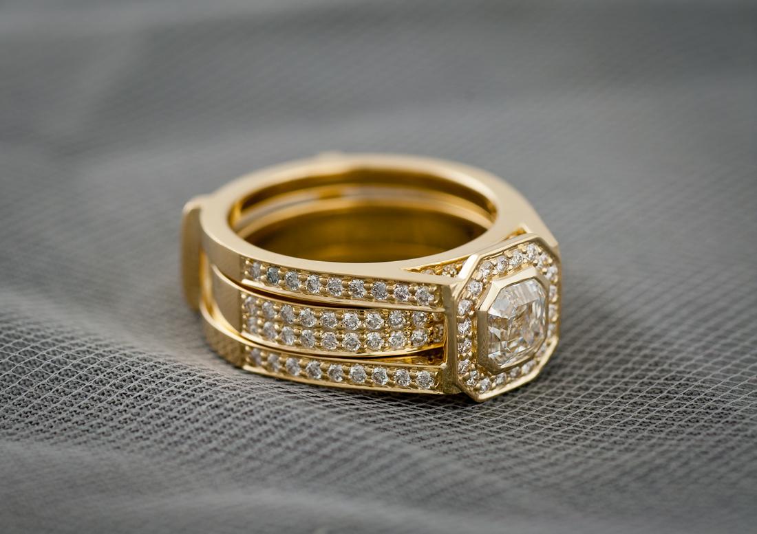 Custom Wedding Set With Bezel Set Asscher Cut Center Diamond Side