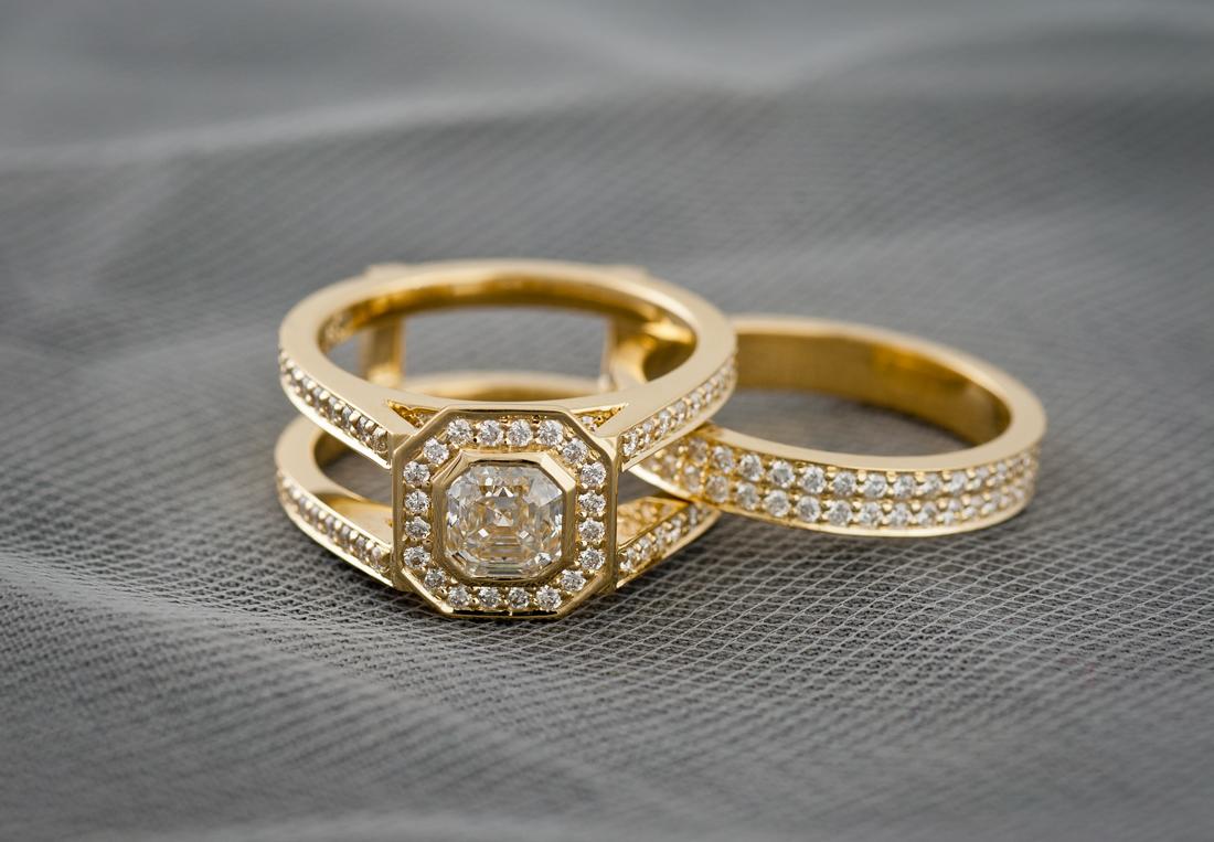 Custom Wedding Set With Bezel Set Asscher Cut Center Diamond