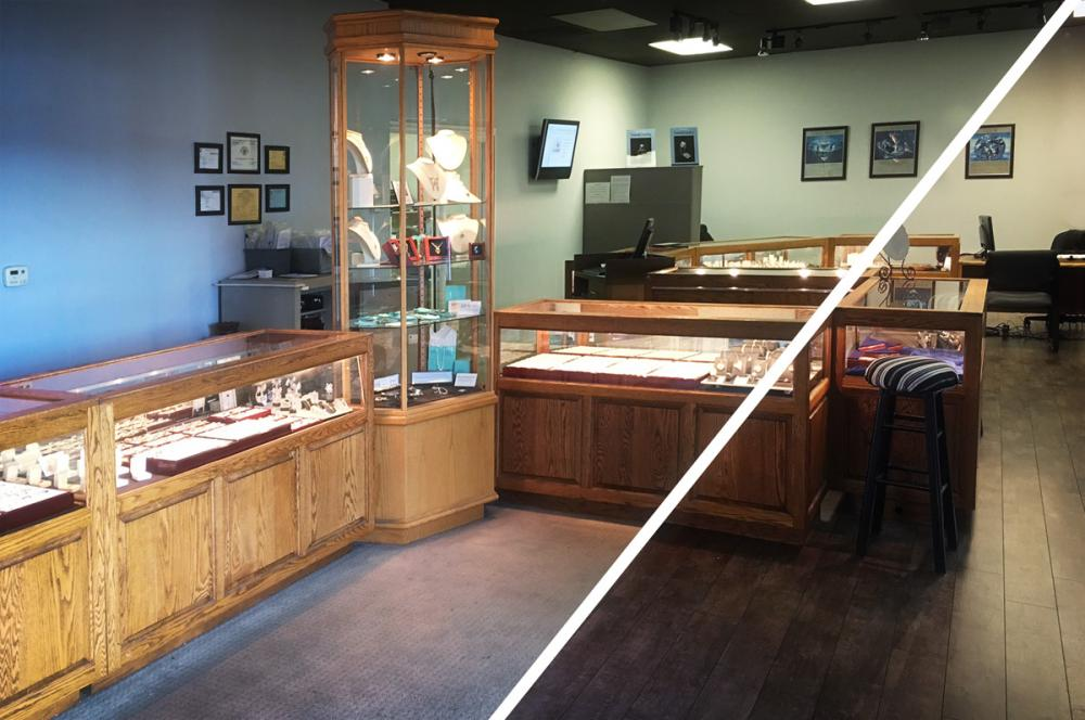 Arden Jewelers showroom floor remodel before and after