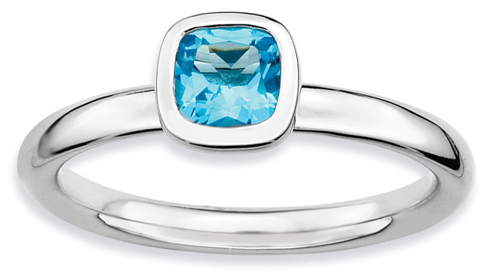 Silver Stackable Ring with Cushion Cut Blue Topaz