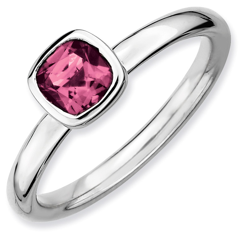 Silver Stackable Ring with Cushion Cut Pink Tourmaline