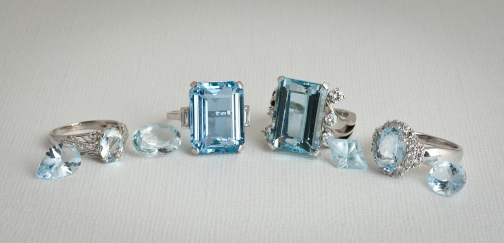 Aquamarine jewelry and loose stones