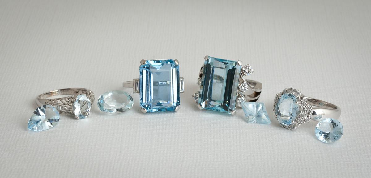 Aquamarine jewelry loose gems rings