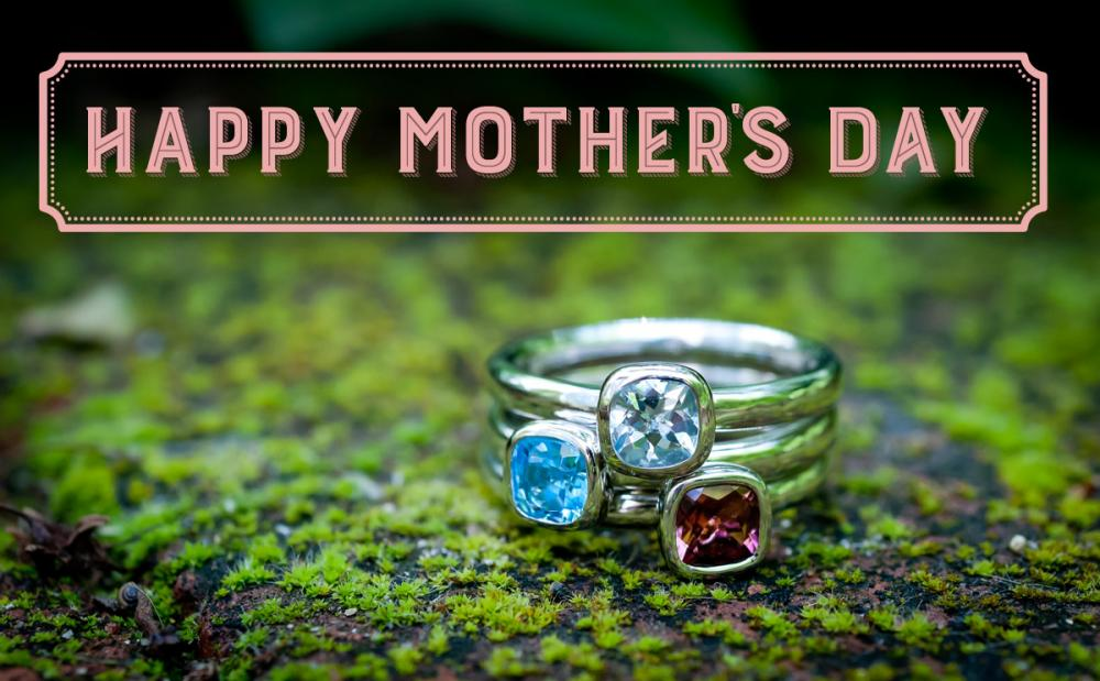 Stackable birthstone rings for Mothers Day