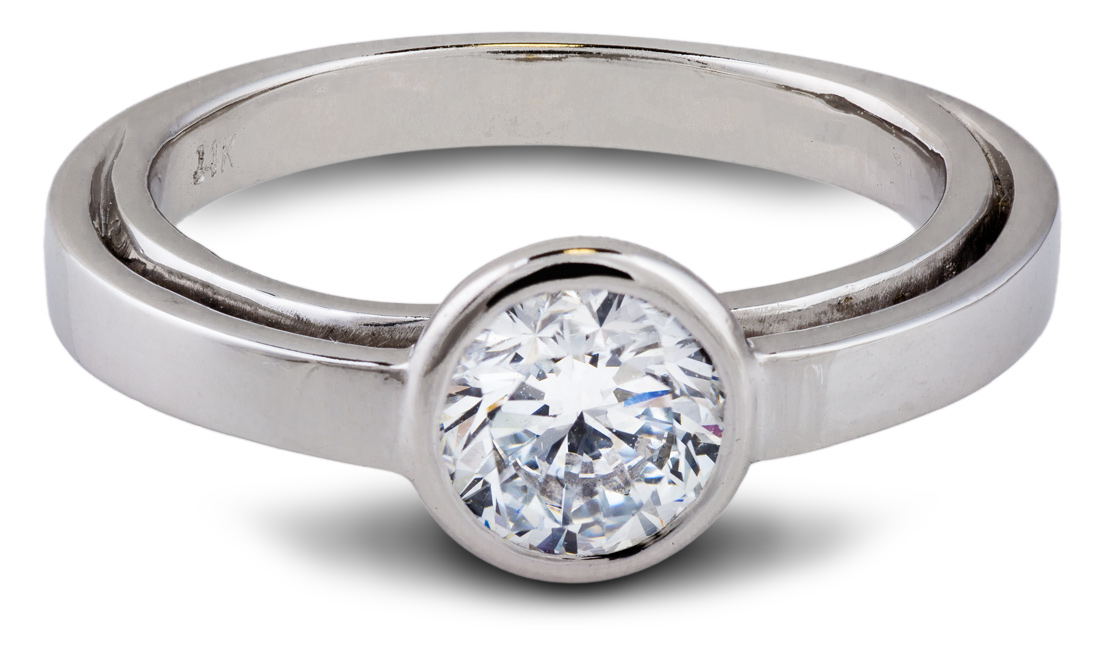 Balance eco friendly lab grown diamond solitaire engagement ring - Front