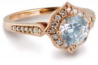 Rose gold vintage halo engagement ring side