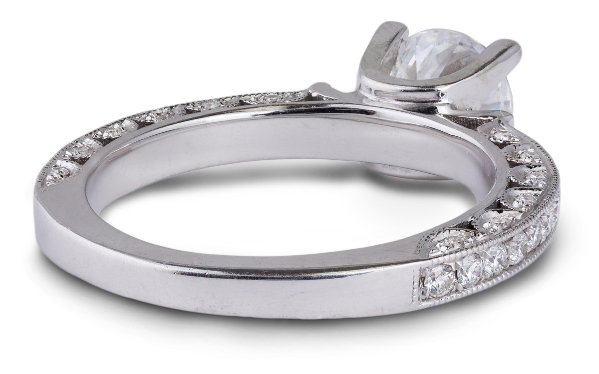 Delicate Vintage Engagement Ring with Accent Diamonds - Back