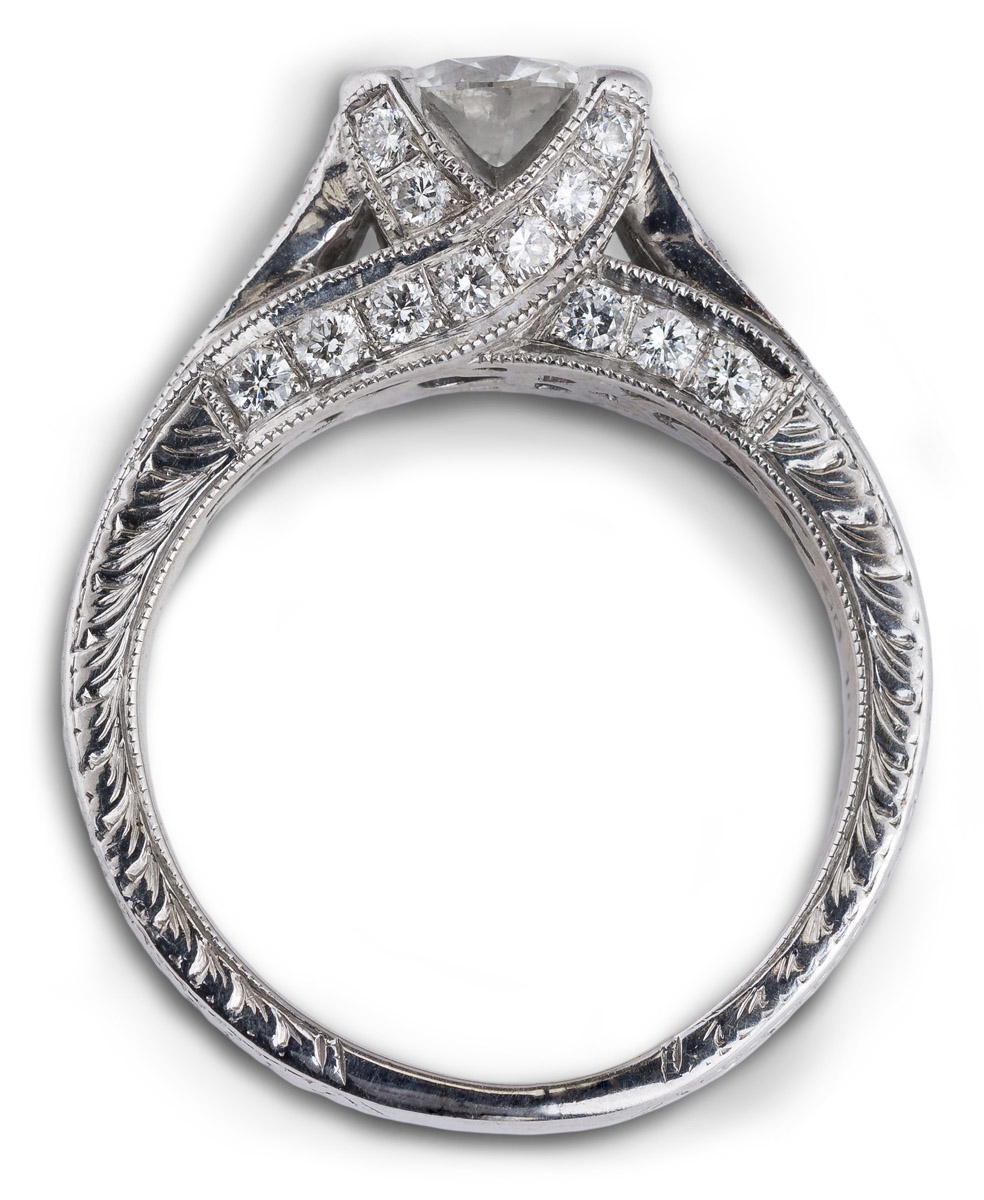 Vintage Style Engraved Shank Diamond Engagement Ring - Top